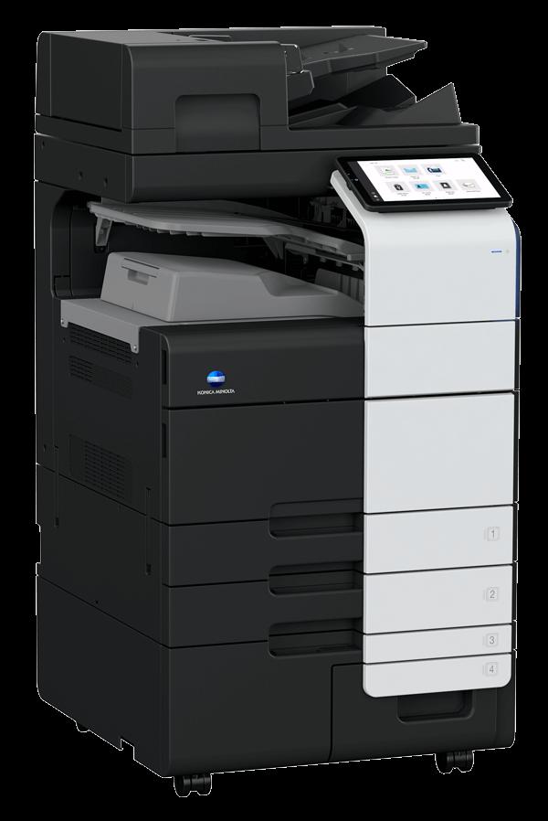 Schwarzer Drucker mit Scan und Kopierfunktion von Konica Minolta